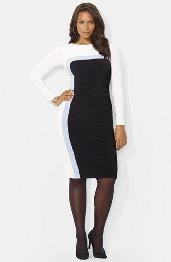Lauren Ralph Lauren Colorblock Jersey Sheath Dress Plus Size