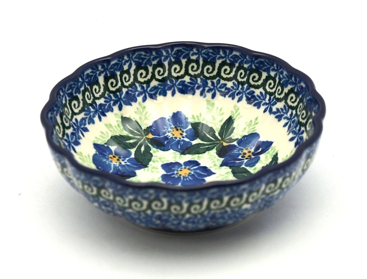 Polish Pottery Bowl - Shallow Scalloped - Small - Blue Pansy *** Discover this special deal, click the image : Bakeware