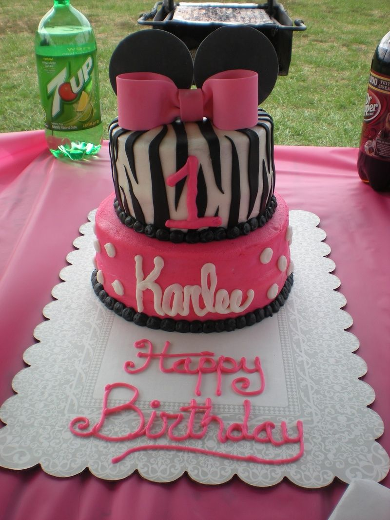 Minnie Mouse and Zebra Birthday Cake Cake Creations Pinterest