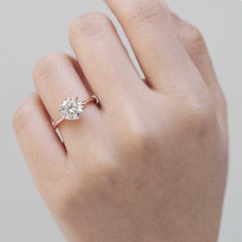 1 Ct Moissanite Ring 14k Gold Moissanite Ring Moissanite Etsy In 2020 Delicate Gold Ring Alternative Diamond Rings Womens Engagement Rings