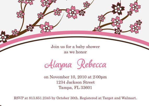 Cherry blossom baby shower invitation digital image shower cherry blossom baby shower invitation digital image filmwisefo