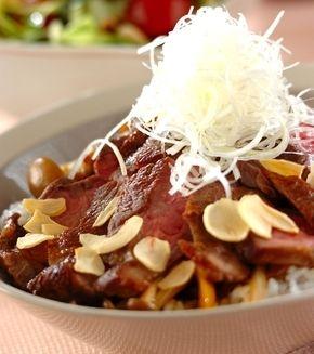 和風ステーキ丼 の献立 レシピ 食べ物のアイデア ステーキ丼