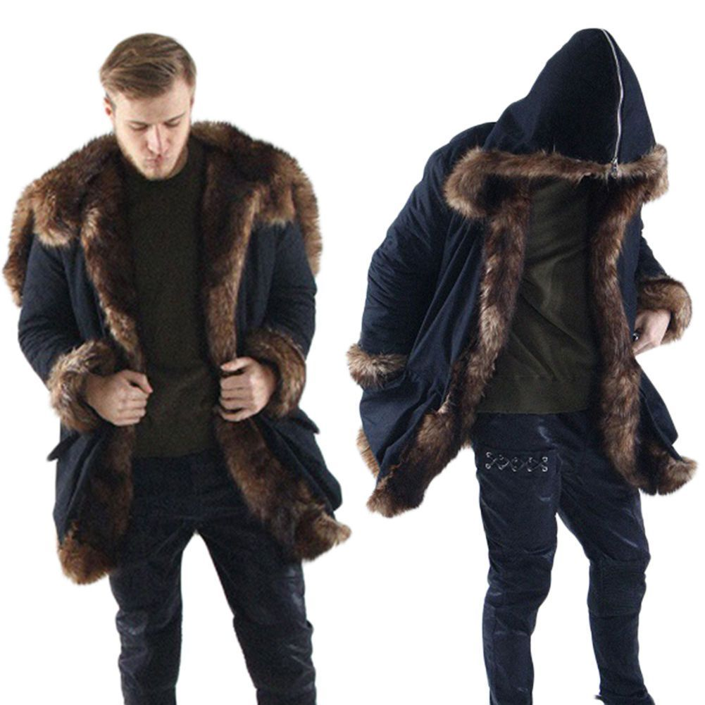 Male Solid Long Sleeve Warm Thick Hooded Jacket Outwear Overcoat Men Faux Fur Cardigan Coat