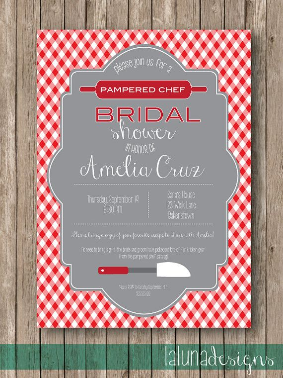 kitchen party bridal shower invite pampered chef by lalunadesigns