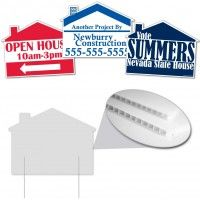 House With Swoosh Sign 22 X22 Corrugated Plastic Corrugated Plastic Signs Are The Solution To Your Yard Signs Corrugated Plastic Signs Advertising Signs