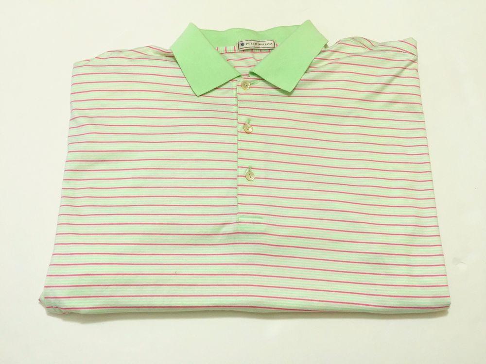 Peter Millar M Men's Short Sleeve Cotton Golf Polo Stripe Multi-Color Mint Green #PeterMillar #PoloRugby