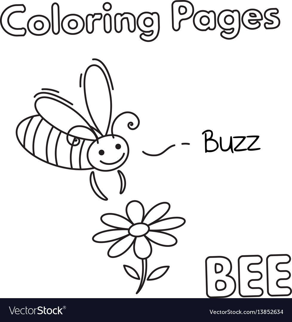 Cartoon Bee Coloring Book Vector Image On Vectorstock Cartoon Bee Coloring Books Bee Illustration