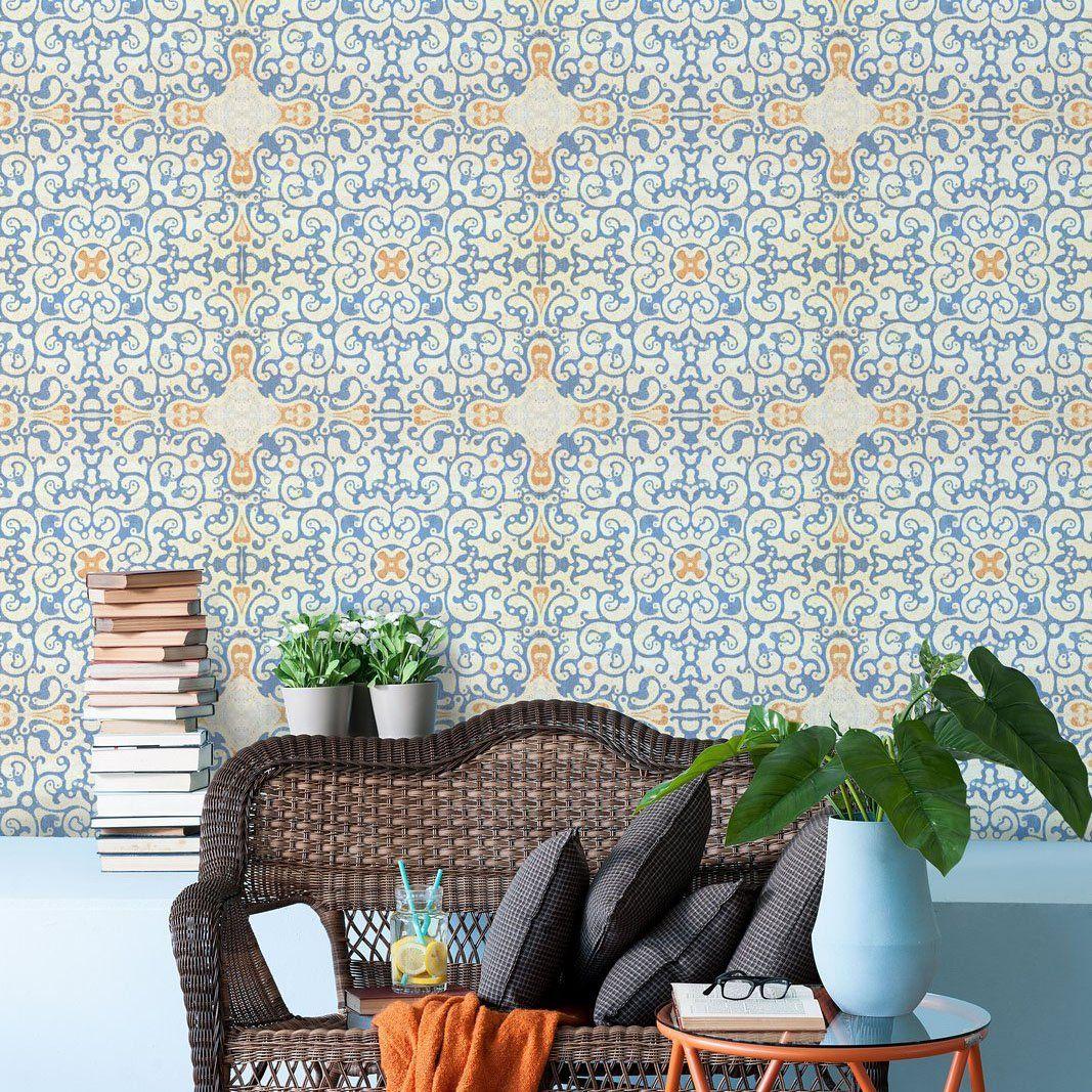 Spanish Tile Wallpaper In 2021 Tile Wallpaper Decor Spanish Tile Alexis spanish tile wallpaper