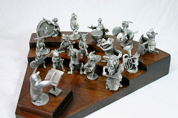 Hudson Pewter Animal Orchestra Band Complete Set 18 Piece