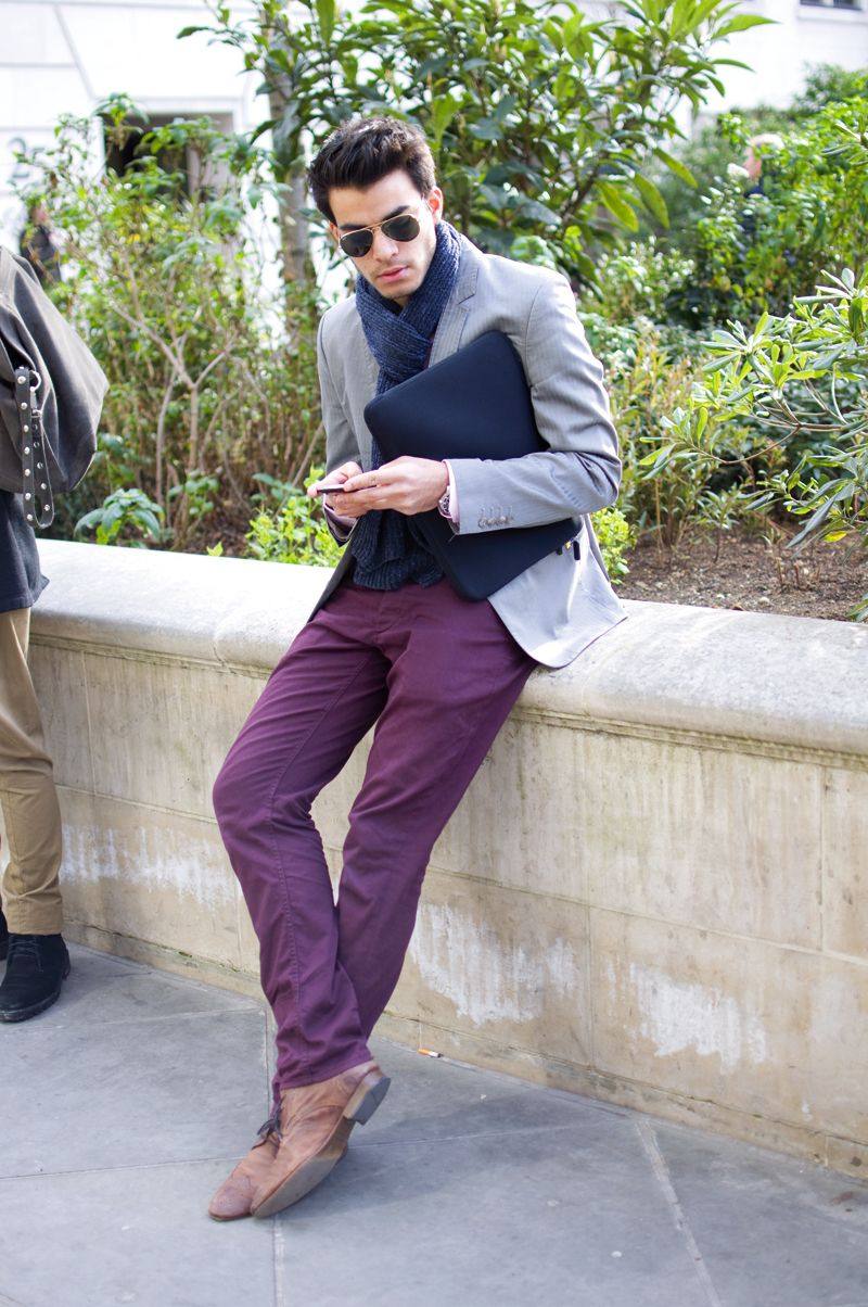 Purple pants and navy scarf | #inspiration #menswear #mensfashion ...