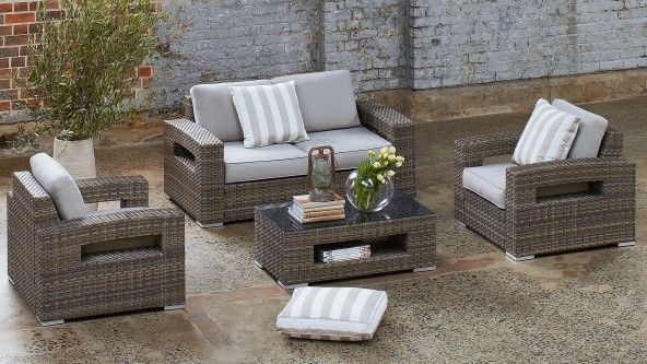 Hampton 4 Piece Outdoor Lounge Setting - Outdoor Lounges | Harvey ...