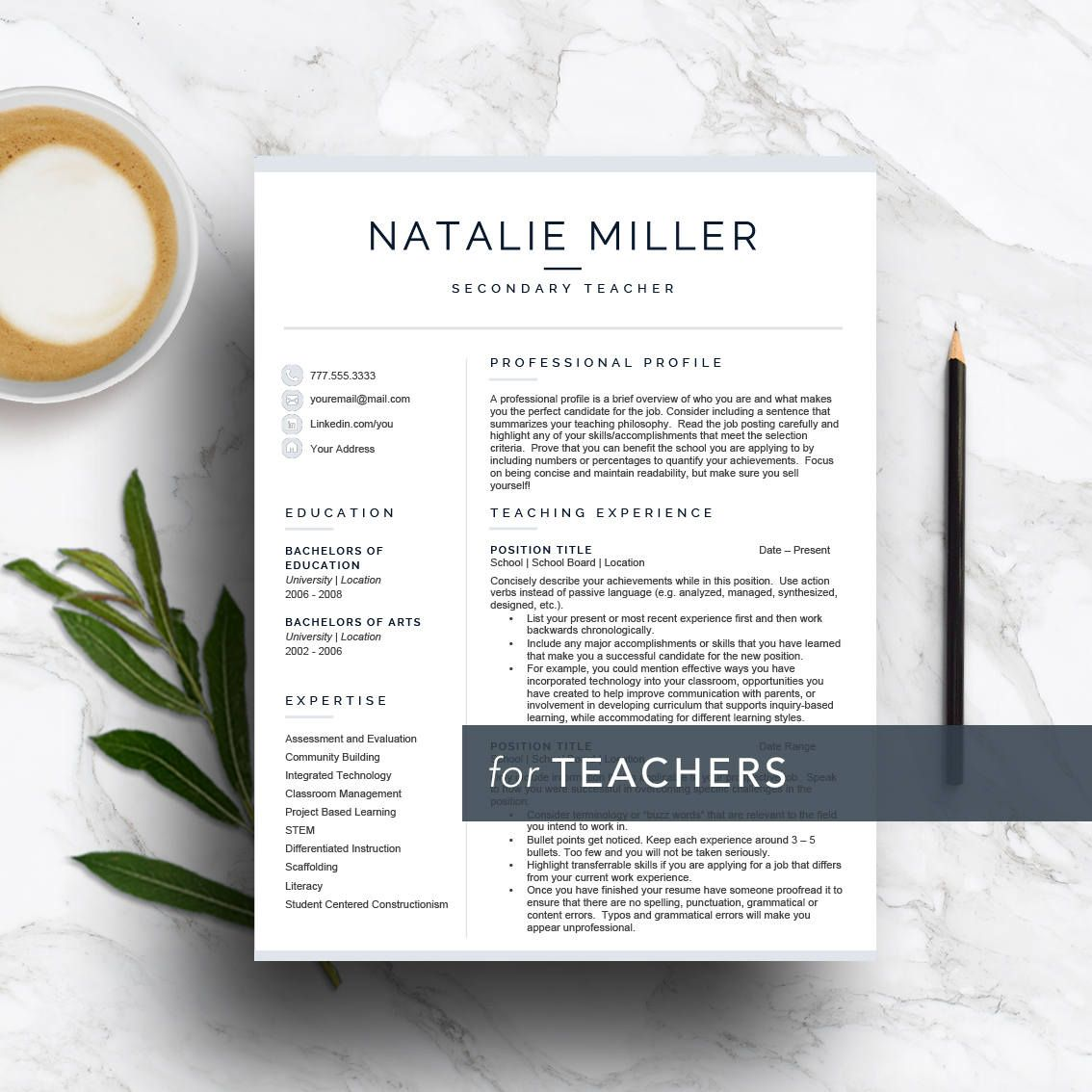 Teacher Resume Template For Word Pages 1 2 And 3 Page Etsy Teacher Resume Template Teacher Resume Resume Template Word
