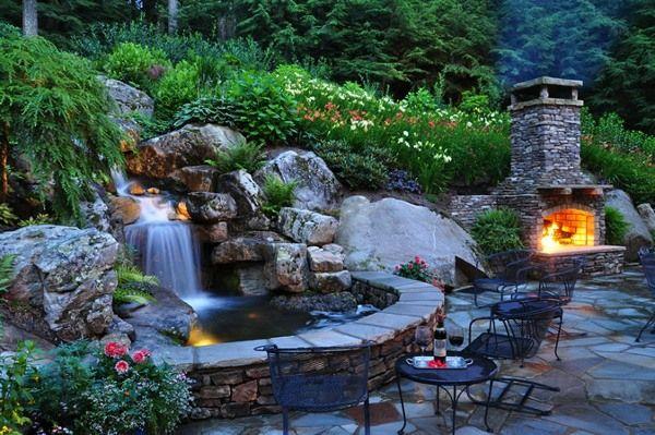Garten Wasserfall Brunnen Gartenideen Pinterest Wasserfall - gartenteich bilder beispiele