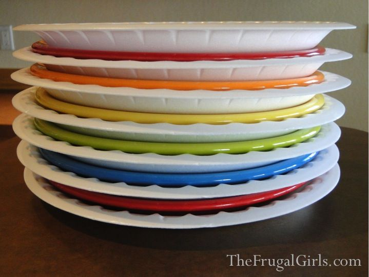 Moving? Pack your plates with foam disposable plates between them! Sooo much easier than wrapping each one in yucky newspaper!