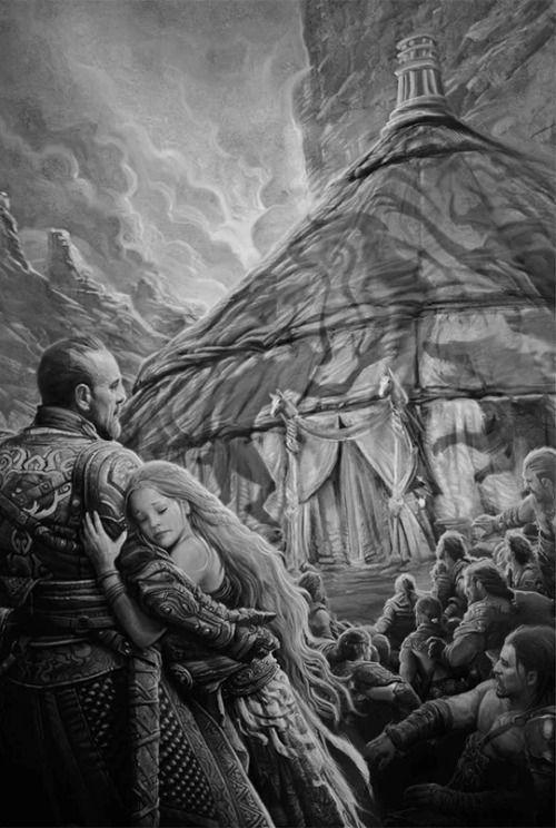 Ser Jorah Mormont and Danaerys outside the tent where Miri