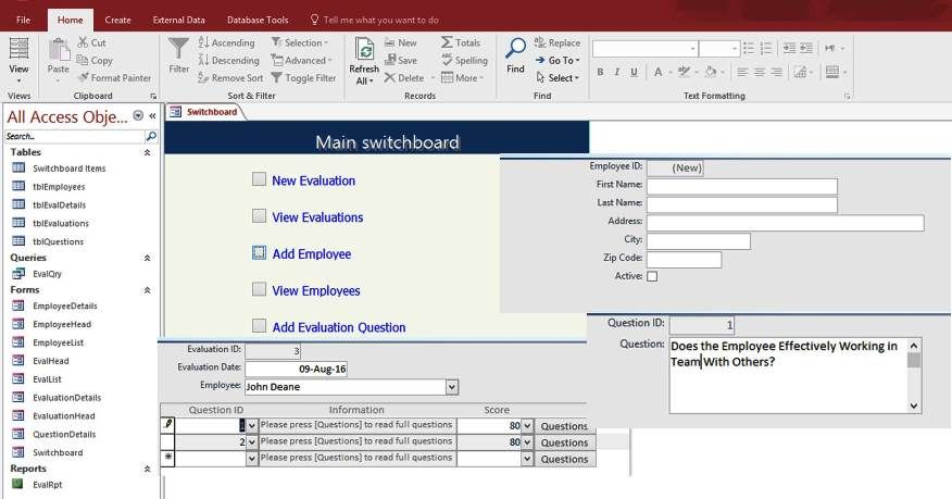 Access Employee Performance Evaluation Form Templates Database ...