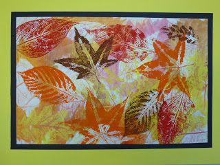 Layered Leaf Printing: 3 layers: crayon rubbings, watercolor
