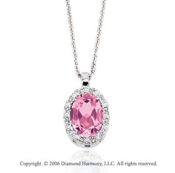 14k White Gold Oval Pink Cizi Prong Diamond Necklace -> Description: This oval cut pink cizi is gorgeous in a frame of diamonds. Let out a ray of light each time you wear this 14k White Gold Oval Pink Cizi Prong Diamond Necklace. -> sku=NK3107 -> Price $255.00