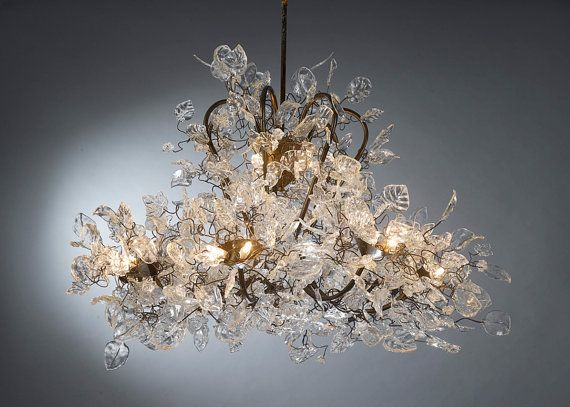 Chandeliers Royal Lighting With Transpa Clear Leaves And Etsy In 2021 Hanging Chandelier Ceiling Lights