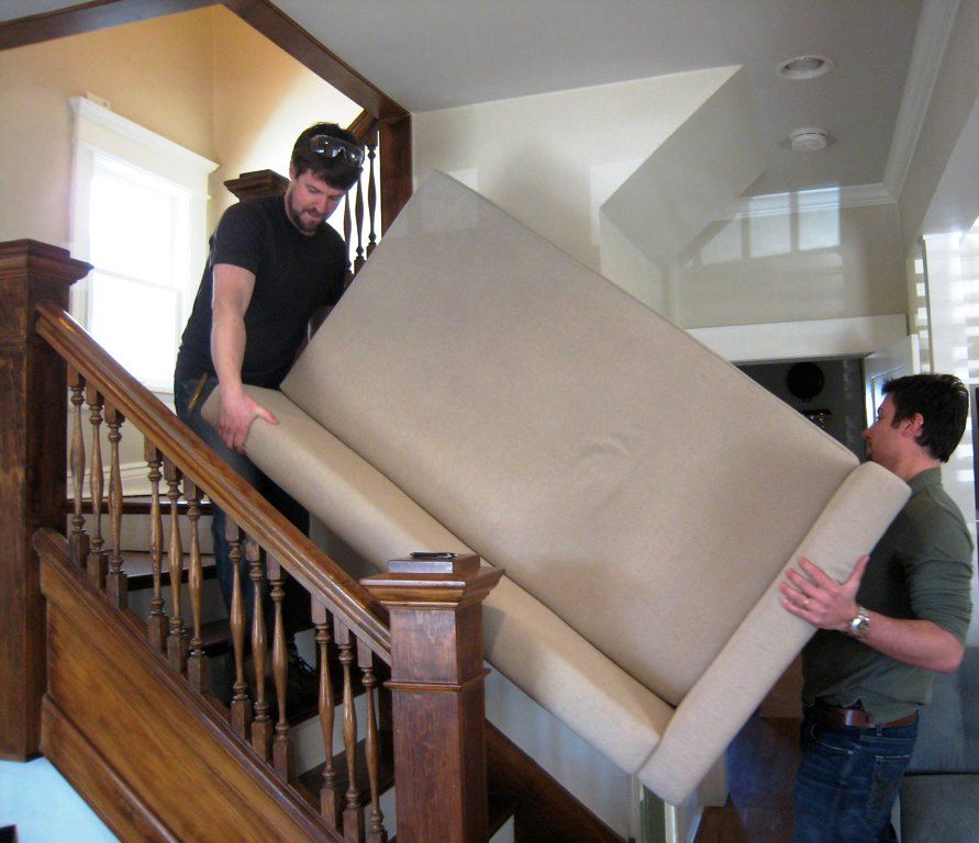 Image result for movers handling a couch on stairs pictures