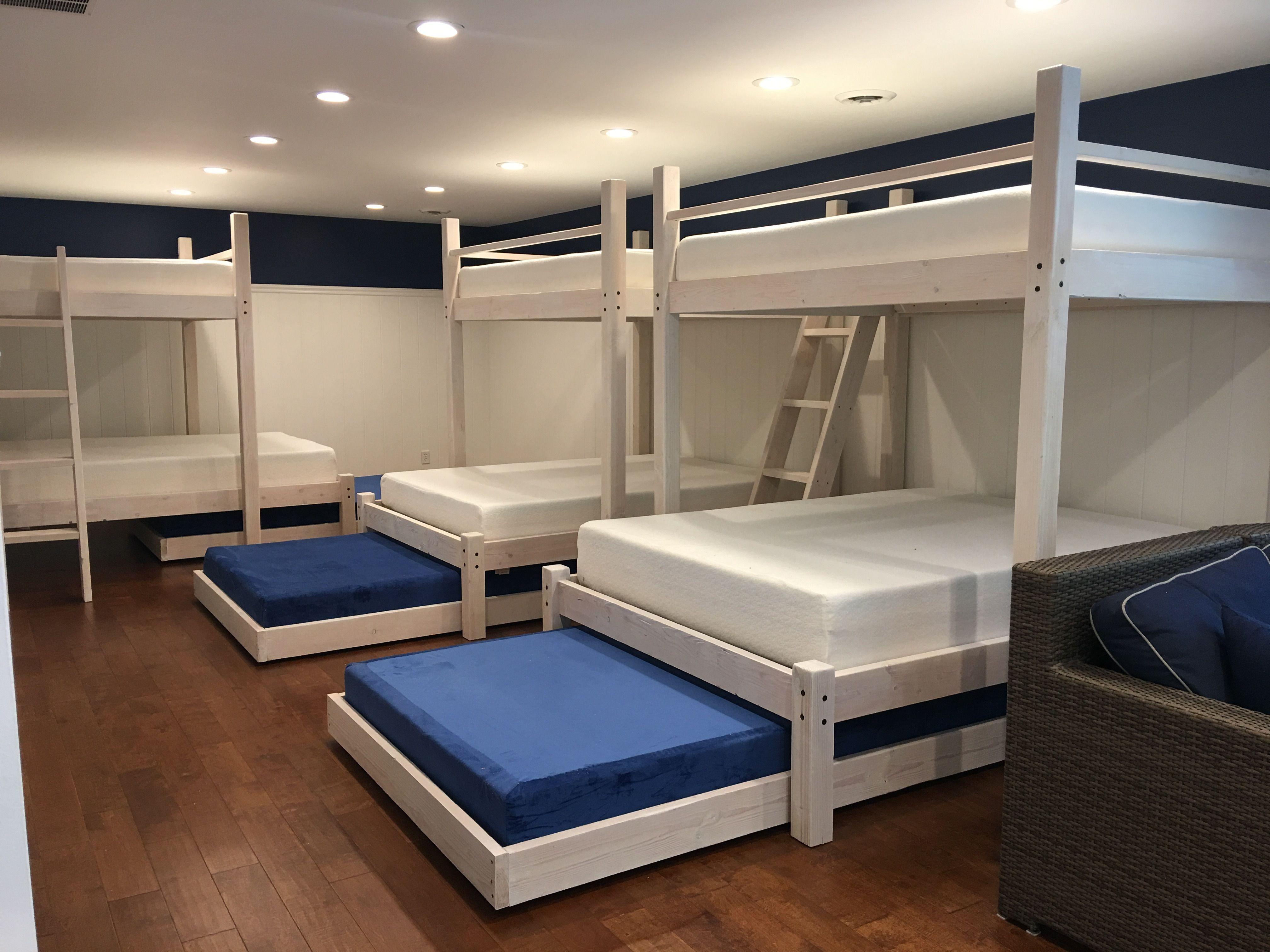 Custom Full Over Queen Over Full Trundle Bunk Beds
