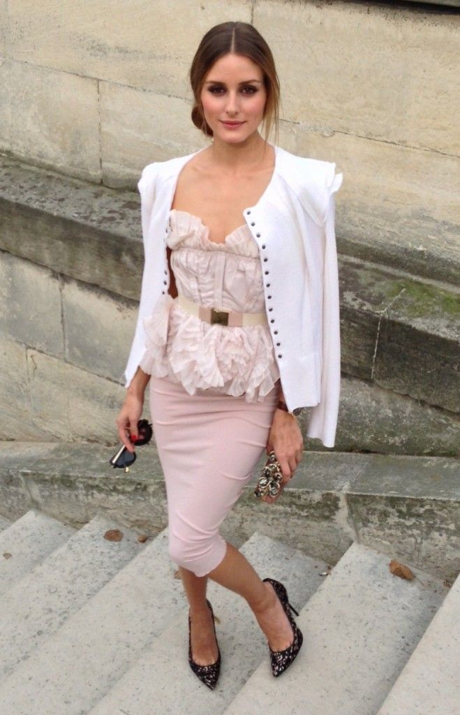 Feminine : blush pink pencil skirt, ruffled top with structured ...