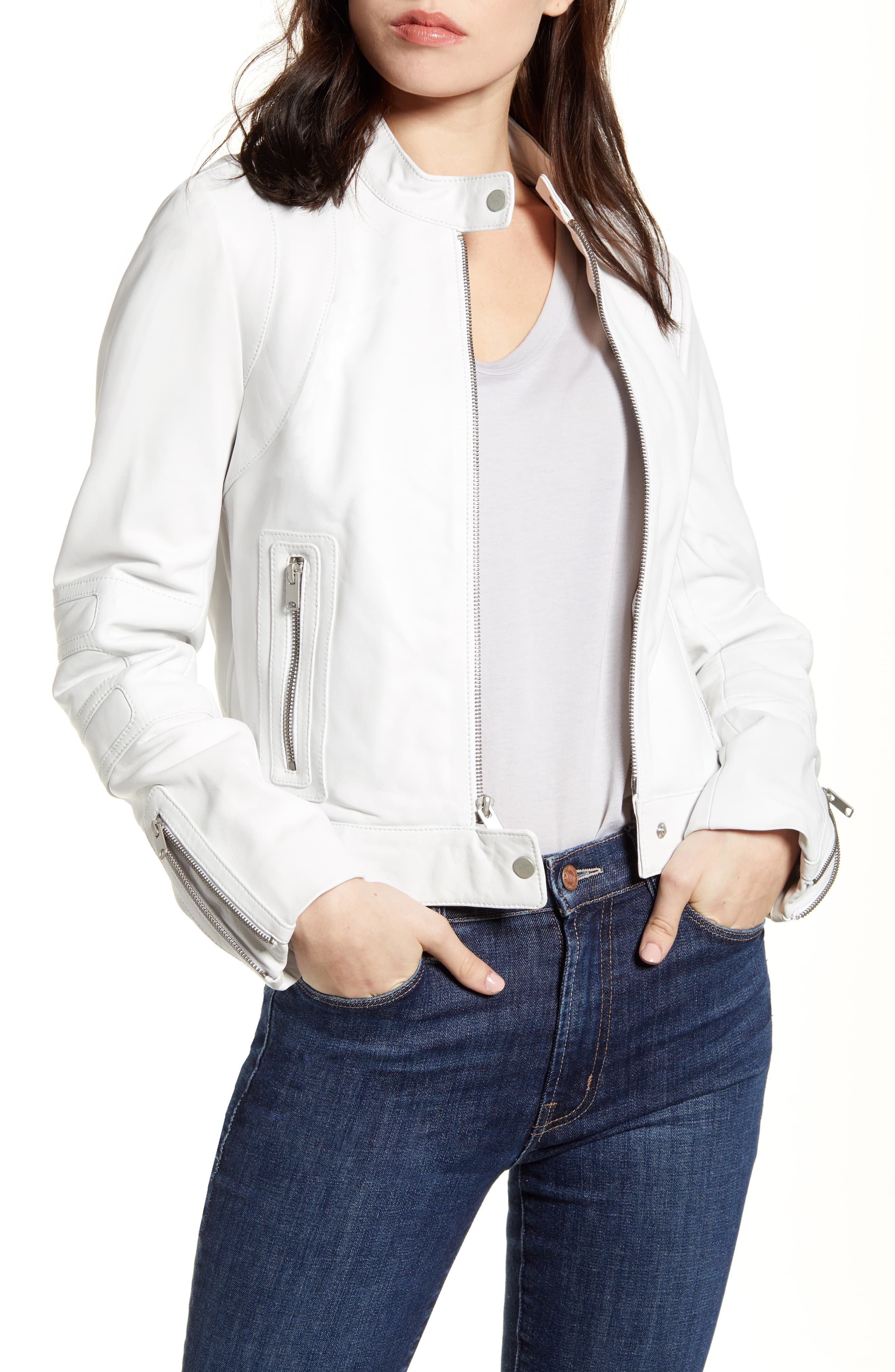 Women's Andrew Marc Leather Racer Jacket, Size XSmall