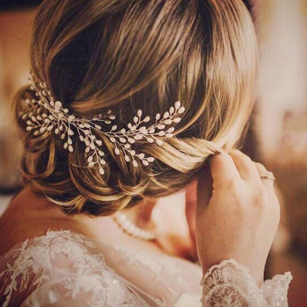 Luxury vintage bride hair accessories handmade pearl wedding jewelry