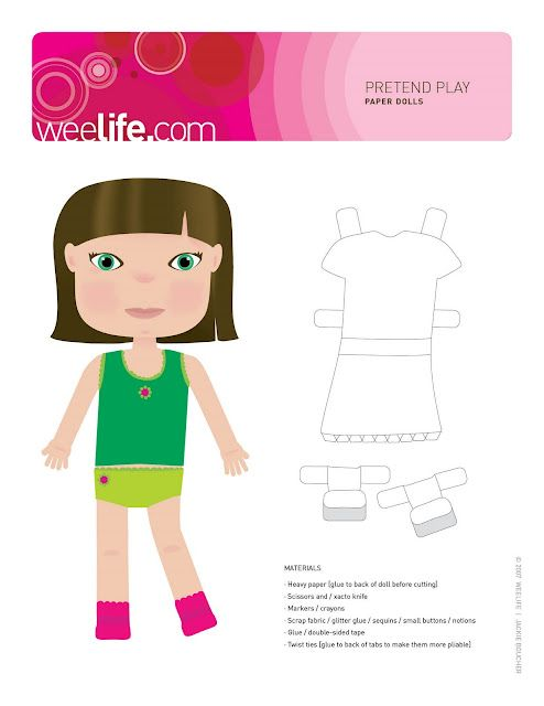 Paper dolls to print and cut out plus lots of outfits to adorn with ...