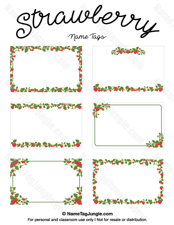 Free printable strawberry name tags. The template can also be used ...