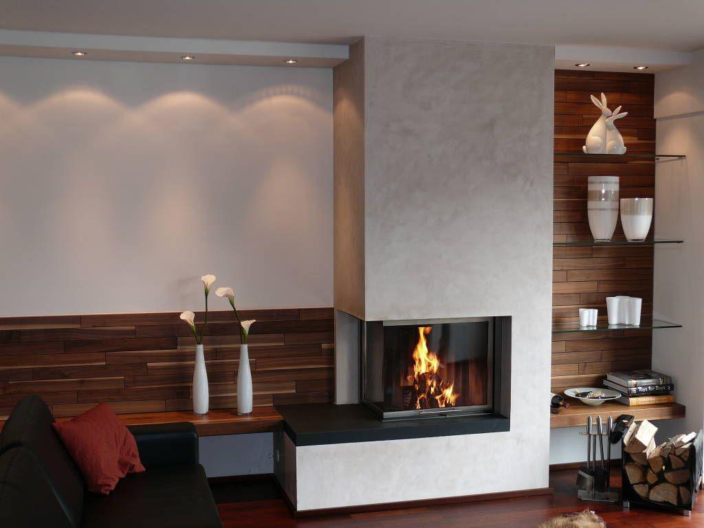 moderne wohnzimmer bilder: eckkamin mit angrenzender, Wohnzimmer dekoo