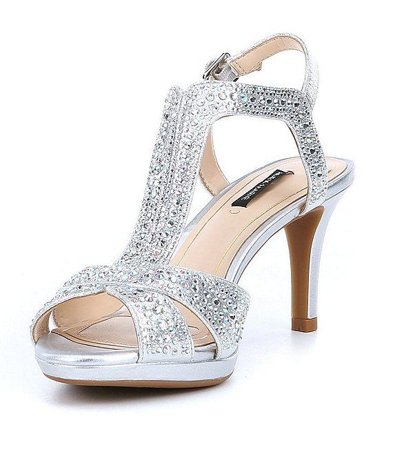 Alex Marie Gianella Jeweled Metallic Fabric Dress Sandals