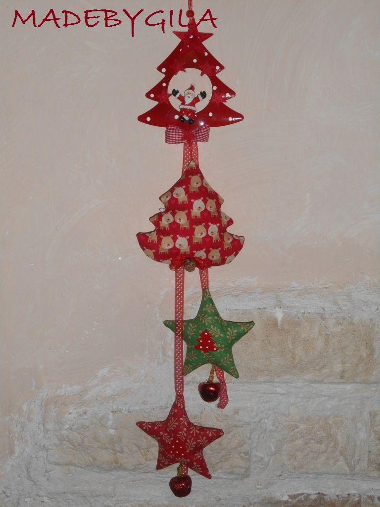 Decorazione natalizia fuori porta o da appendere con stelle e albero di natale in tessuto - Decorazione natalizia per porta ...