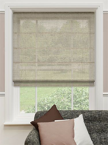 Pure linen voile taupe roman blind from blinds 2go for Linen shades window treatments