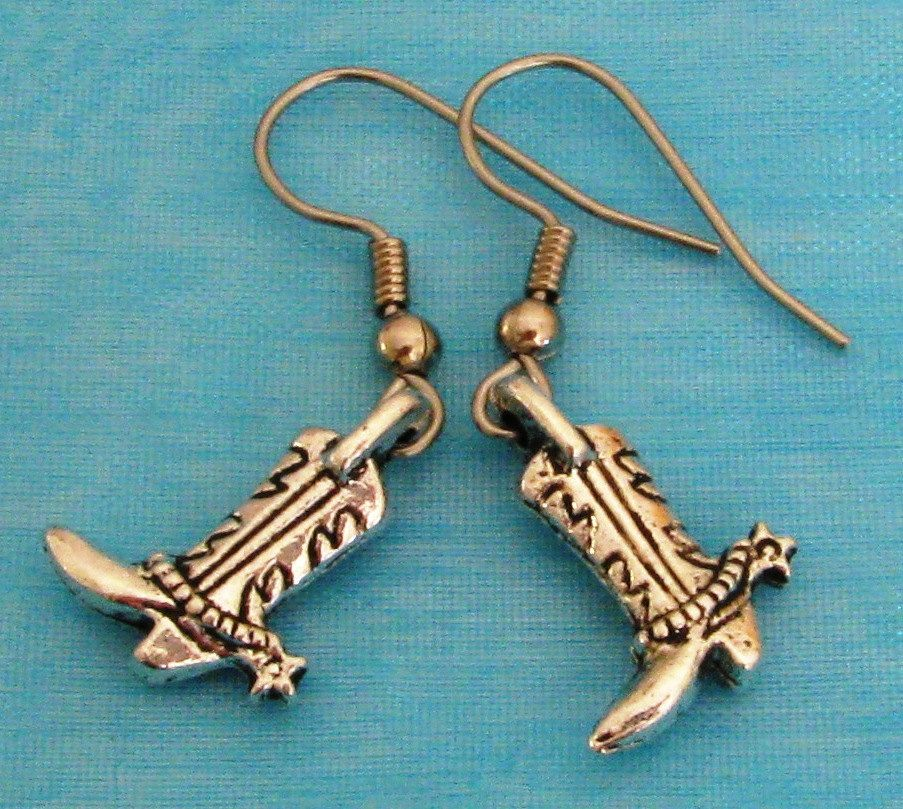 Western COWBOY BOOT Silver Plated Charm KITSCH Art Nouveau Earrings ...