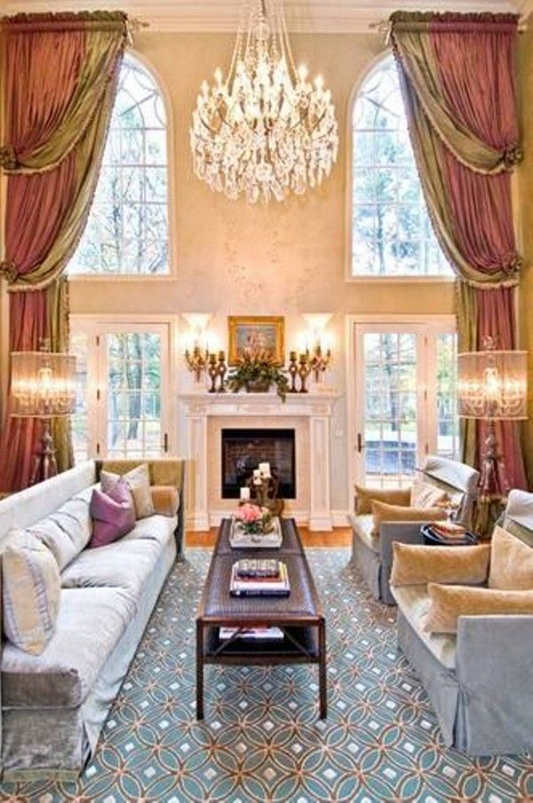 Redesign Living Room With High Ceiling design with big glass window ...