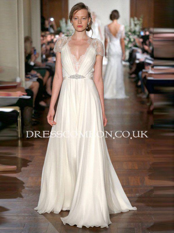 72604b28cda4a Custom Deep V-neck Cap Sleeves Lace Chiffon Beach Wedding Dress,See ...