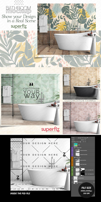 Wall Floor Mockup Bathroom Sm121 Surface Design Flooring Design Projects