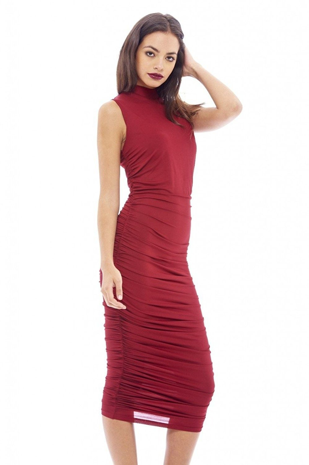 abbba53f46a1 AX Paris Women's High Neck Ruched Midi Dress - Wine - CF125PSX4L5,Women's  Clothing, Dresses, Club & Night Out #women #fashion #clothing #style #sexy  ...