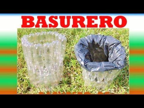 MANUALIDADES - Como hacer un basurero con botellas recicladas -  RECICLAJE - YouTube