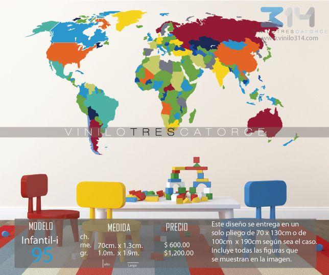 Vinilo 3 14 vinilos decorativos infantiles mundo for Vinilo mapa del mundo