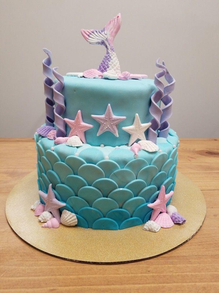 mermaid cake design 2 layer Mermaid Cake  Mermaid birthday cakes, Tiered cakes birthday
