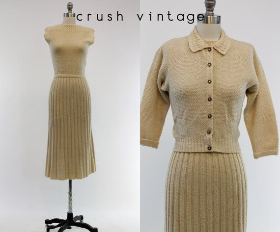40s 50s Kimberly Knitwear Set 1940s 1950s Wool By Crushvintage 142 00 Dress With Cardigan Knit Dress Dresses