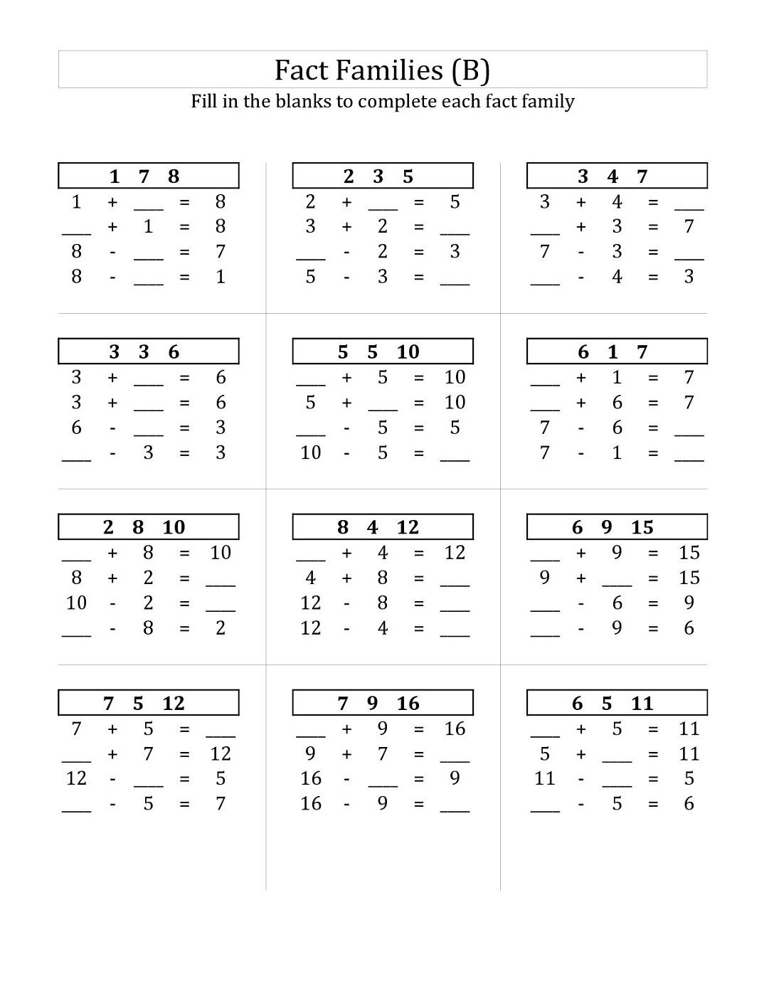 Fact Family Worksheets For First Grade Fact Family Worksheet Family Worksheet Math Fact Worksheets