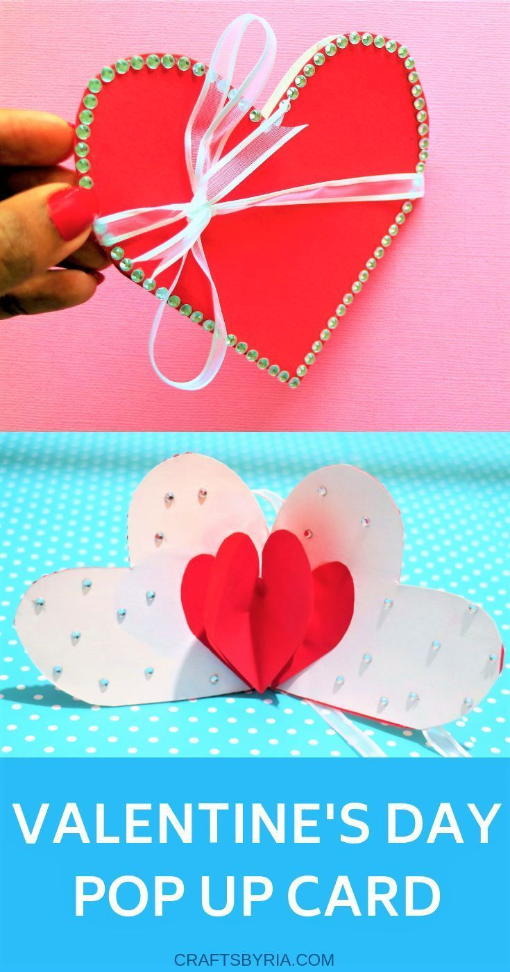 Diy valentines day card surprise heart pop up card easy