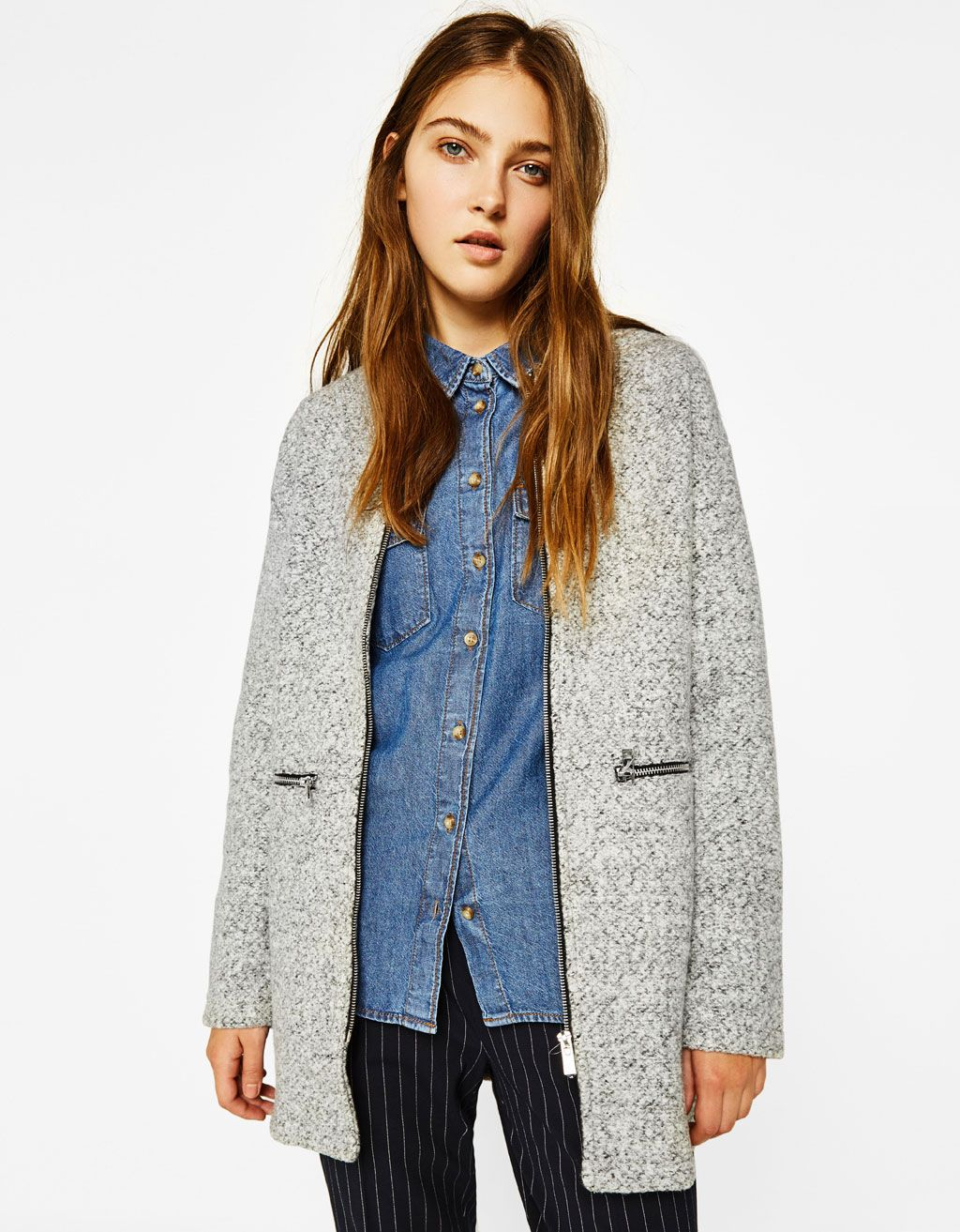Wool Coat With Zip Discover This And Many More Items In Bershka With New Products Every Week [ 1313 x 1024 Pixel ]