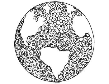 Earth Day Globe World Zentangle Coloring Page Coloring Pages