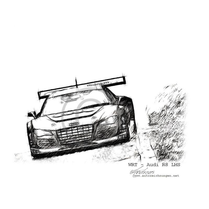 Audi R8 LMS - WRT Pencildrawing by www.autozeichnungen.net