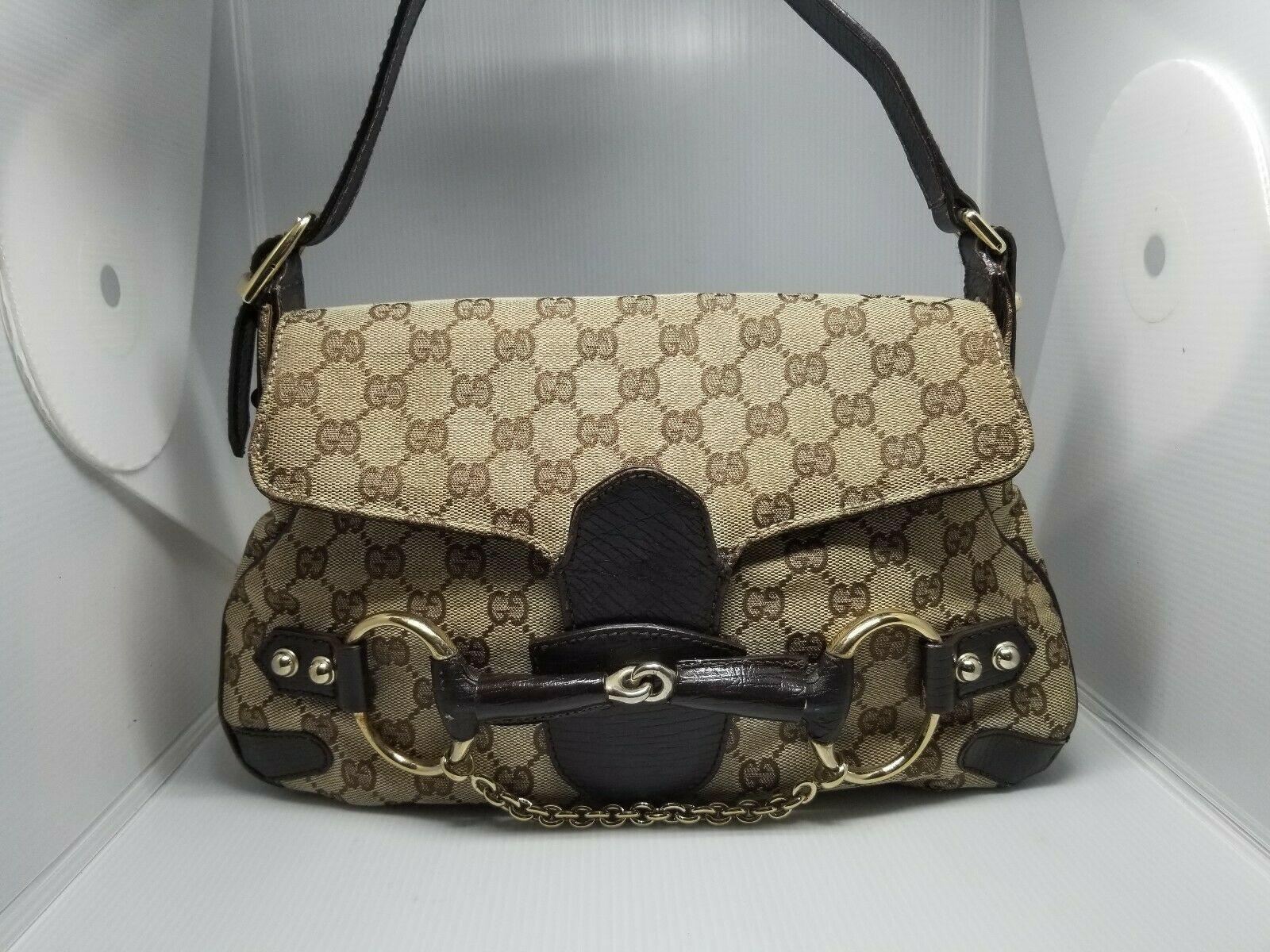 eb52c26dc18  FORSALE Authentic GUCCI Monogram Horsebit Chain Flap Brown Shoulder Bag  114915 204990 -  125
