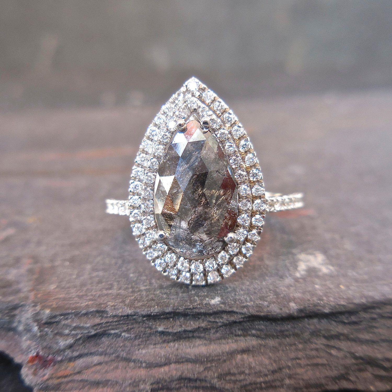Pear Diamond Engagement Ring Salt And Pepper Diamond Ring Etsy Pear Diamond Engagement Pear Diamond Engagement Ring Brown Engagement Rings